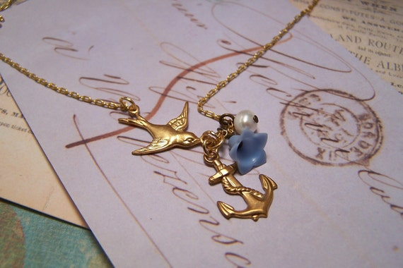Swallow and Anchor Necklace for a Safe Journey