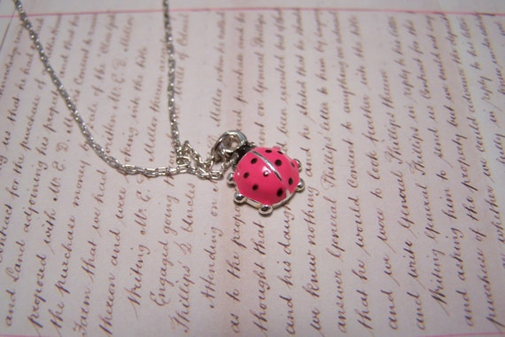 Lucky Ladybug Necklace Hot Pink...  Includes quote
