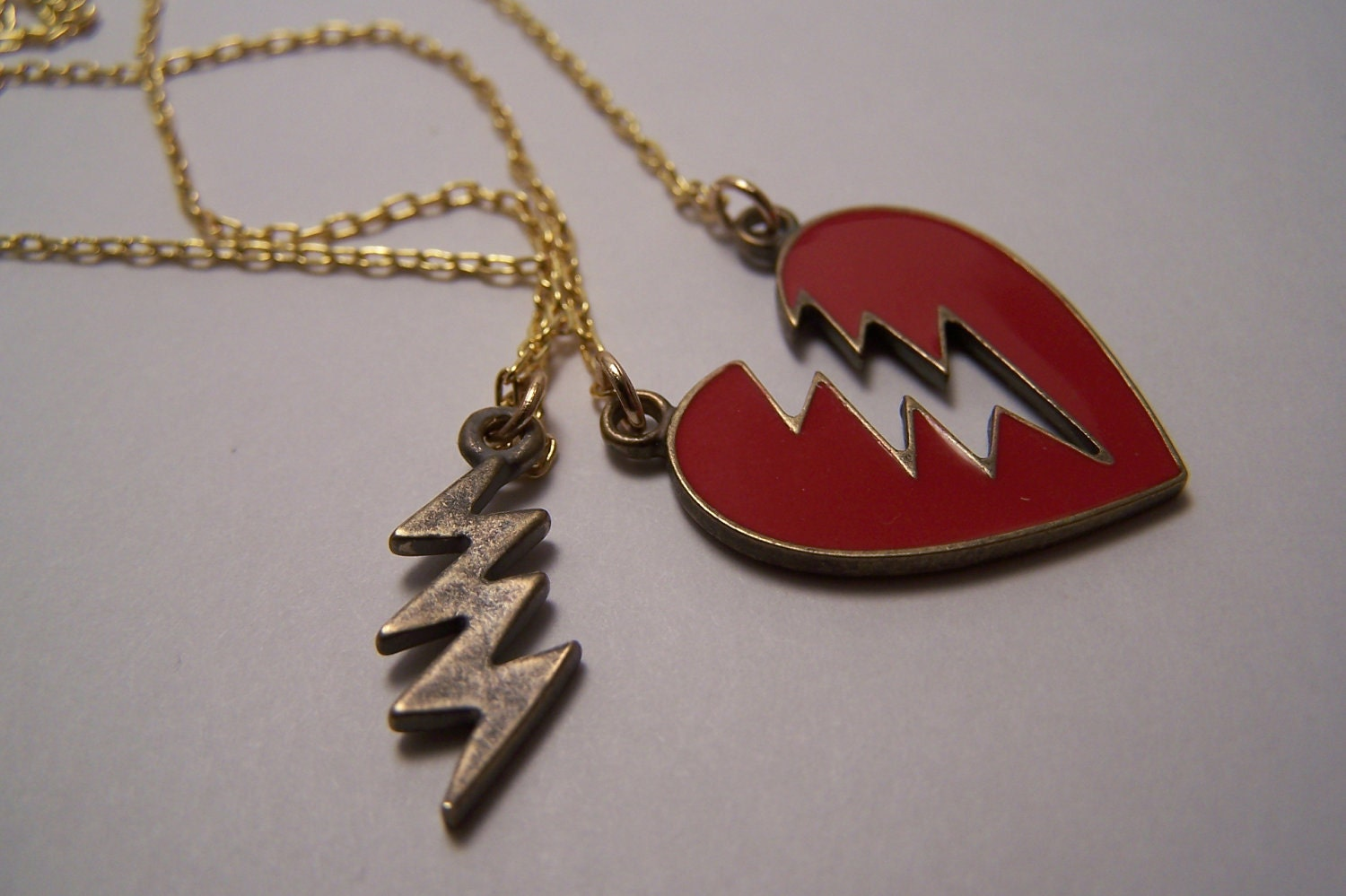 set of two interlocking friendship necklaces and