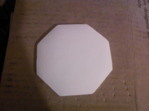 Set of 4 Octagon Shaped Equal sides Plaque ready to paint ceramic bisque