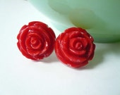 Red post earrings. Red flower studs. Valentines Day gift.