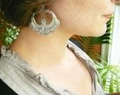Large silver hoop earrings. Big silver hoops. Gypsy silver hoops. Half moon antiqued silver hoops. Oak leaf detail. Sterling silver earwires