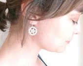 Tour de France bike gear silver earrings. Delicate bicycle gears on sterling silver ear wires. For the bicycle lover.