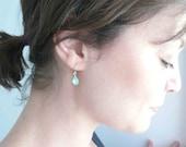 Aquamarine earrings. Blue earrings. Blue green faceted rhinestone glass teardrops on 14K gold fill ear wires.