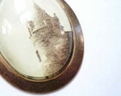 Scotland castle necklace. Outlander. Bonaly Tower. Antique sepia photo. Custom design.