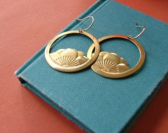 Large lotus sunrise earrings on 14K gold fill ear wires.