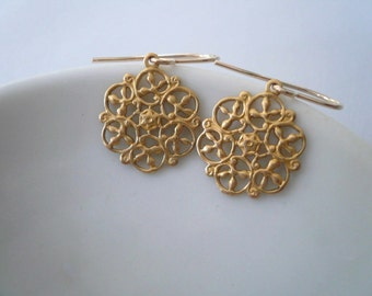 Small gold earrings. Little round brass filigree earrings with 14K gold fill ear wires.