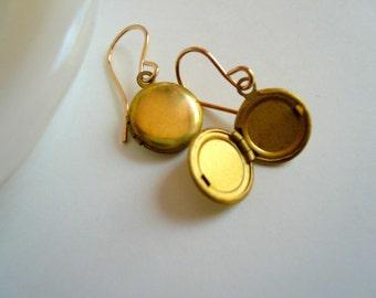 Gold locket earrings Small lockets Vintage lockets Round locket Little locket Sweet earrings with lockets Earring lockets Gold fill earrings