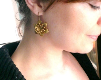 Romantic gold flower earrings. Girlfriend gift. Romantic gift. Large lightweight antiqued gold earrings. 14K gold fill or brass ear wires.