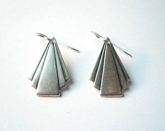 Art deco triangle earrings Art deco earrings Silver earrings 1920s earrings Frank Lloyd Wright dangles Silver dangles Geometric dangles
