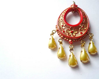 Red statement necklace with yellow and gold. Red and gold boho necklace on long chain. Red statement necklace with yellow and gold.