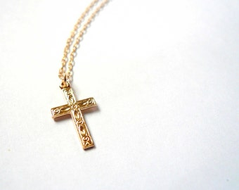 Gold cross necklace 14K gold fill Christian cross religious necklace Gift Christian necklace Heirloom necklace Simple cross gold necklace