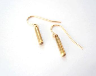 Gold bar earrings. Little vintage brass rods on 14K gold fill (GF) earwires.