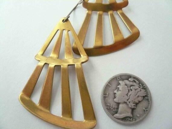 Cut out earrings Striped earrings Triangle earrings Geometric earrings Big earrings Large earrings Vintage earrings Vintage brass earrings
