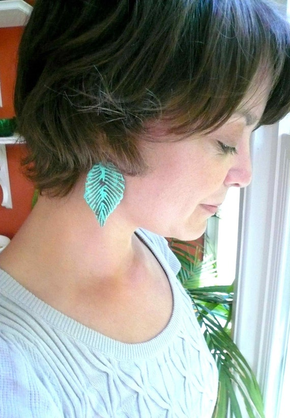 Large blue feather earrings. Blue leaf earrings. Big leaf earrings. Big blue dangles. Big blue dangle earrings. Big blue feather earrings.