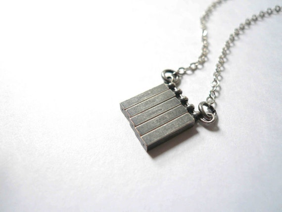 Industrial Silver Necklace with Steel Antiqued Silver Grey Gray Square Bars on a sterling silver chain.