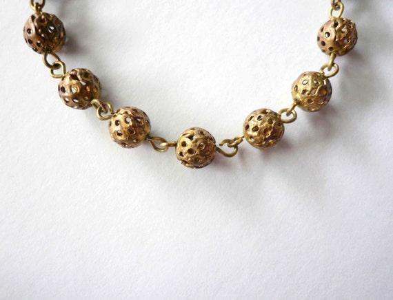 Gold bead necklace chain. Brass bead choker. Vintage brass filigree bead short necklace chain.