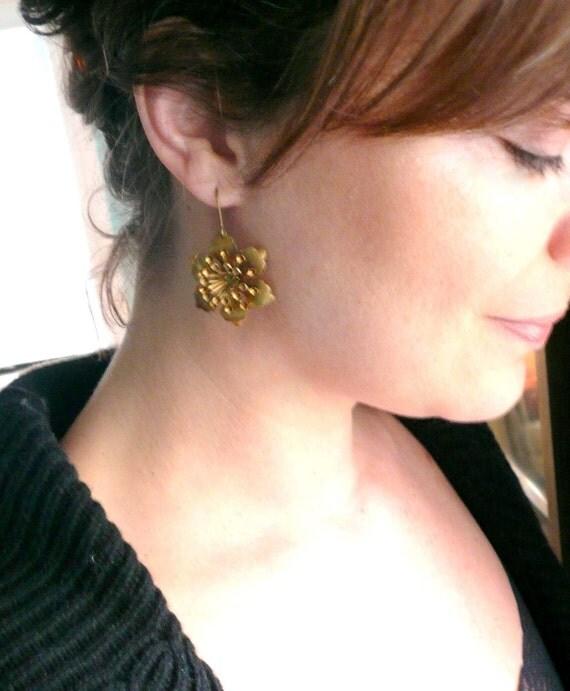 Romantic gold flower earrings. Girlfriend gift. Romantic gift. Large lightweight antiqued gold earrings. 14K gold fill or brass ear wires.