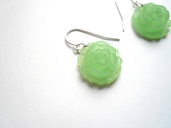 Mint green earrings. Jadeite green earrings with sterling silver ear wires. Light green dangle earrings. Green dangles. Jade green earrings.