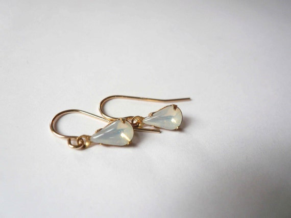 Opal moonstone earrings. Petite glass opal teardrop earrings on 14K gold fill (GF) ear wires. Dainty jewelry.