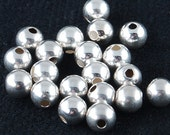 4mm Seamless 925 Sterling Silver seamless round beads - 25 pcs.