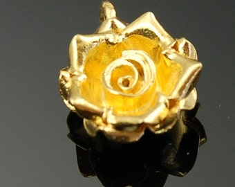22K Gold Vermeil Hill Tribe Rose Pendant