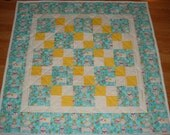 AQUA POLKA DOT CAT Baby Toddler Handmade Quilt 38 X 38