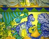 ANDOVER Dinotykes 3106 - blue green dinosaur border stripe fabric