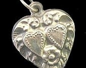 Valentine SALE 20% OFF Vintage Sterling Puffy Heart Charm- Double Heart Floral