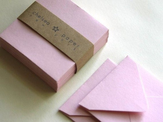 Pink Feather (mini) 2 3/4 x 2 3/4 Square Envelope 20 pieces  (CLOSE OUT SALE)