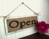 Business Sign OPEN CLOSED two sided, Shop Decor, Boutique BURLAP