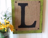 BURLAP sign monogram Letter Home or Wedding SIGN, White, C any letter