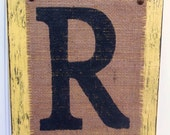 BURLAP Monogram. Rusic Burlap Letter R, Ready to Hang Burlap NAME Sign, Distressed Letter R Burlap Sign, Antique Yellow Burlap Monogram Sign