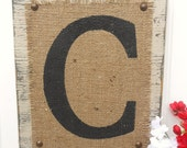 Burlap Monogram Letter Sign, Home or Wedding SIGN, Gray/Sand color, hanging wood letter, Any letter A-Z
