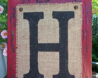 Burlap Monogram LETTER Sign, Home or Wedding SIGN, red, hanging Wood letter, Any letter A-Z