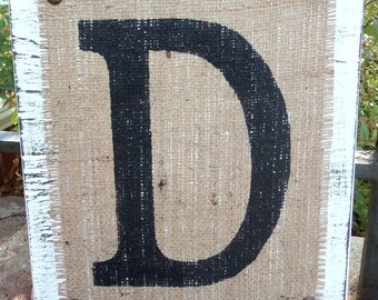 Burlap Wood Letters Custom Sign uppercase D block - White or you choose color