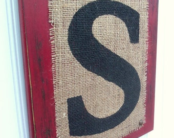 Burlap Monogram LETTER Sign, Letter, INITITAL, You choose letter