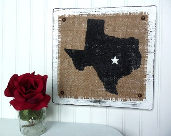 TEXAS Burlap wood wall sign WHITE - Cowboy