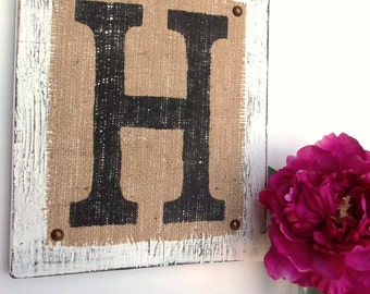 Hanging Wood Letters Custom Burlap Sign Letter H White you choose color