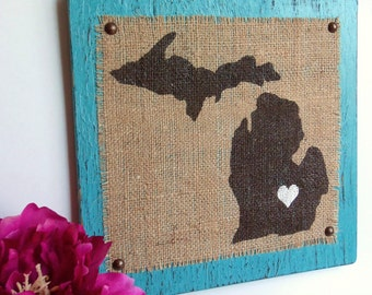 MICHIGAN Distressed Aqua Blue Wood Wall Hanging SIGN