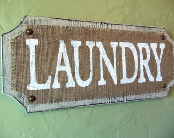 Laundry Room Sign, Sand/Light Grey, Vintage, Burlap sign, Beach Style, French Cottage