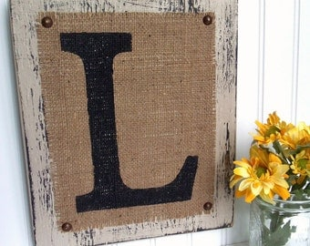 Rustic Letter Sign, Burlap painted monogram, different colors and letters available, customizable