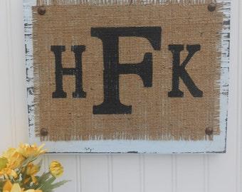 Burlap Monograms LETTERs Sign, Letter, YOUR INITITALs, You choose letters