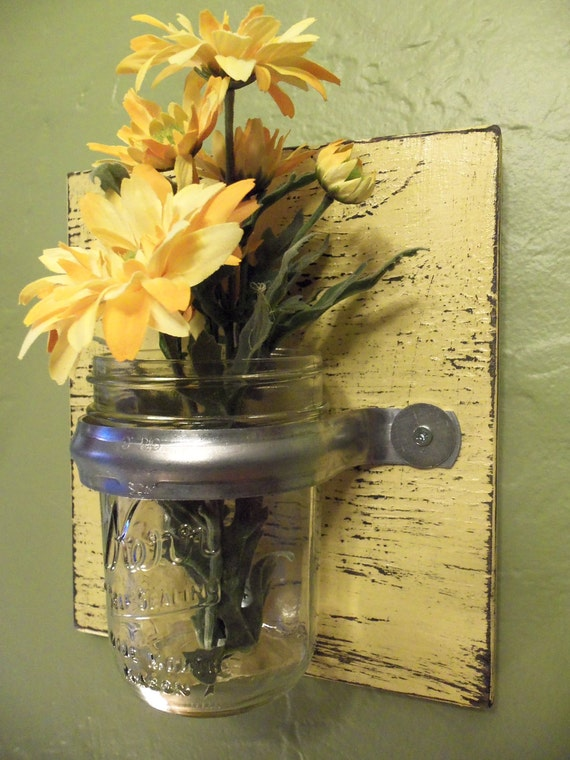 Wall vase sconce yellow rustic wood glass decor