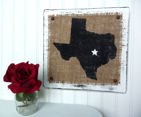 TEXAS Burlap wood wall sign WHITE