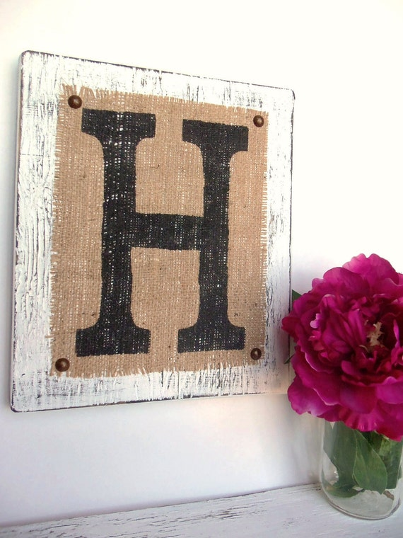 Hanging Wood Letters Custom Burlap Sign Letter H White You