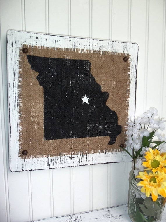MISSOURI Burlap wall sign WHITE WOOD, shabby chic, vintage looking