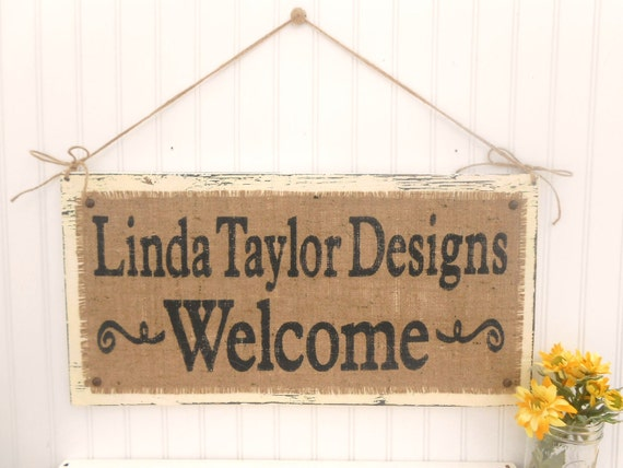 WELCOME, Business Sign, rustic shabby chic burlap and twine