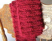 Hand Knitted Cranberry Red Scarf Fashion Accessories Men Women