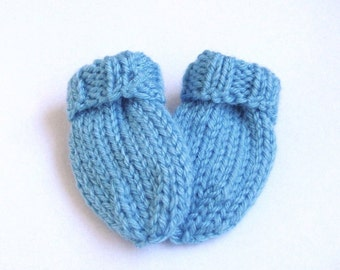 Blue Baby Mittens, Ready To Ship, Newborn 0 to 3 Months, Hand Knit Thumbless Mitts, Warm Winter Infant Baby Girl Clothing, Baby Boy Gift
